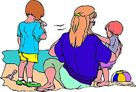 mother and two children at the beach