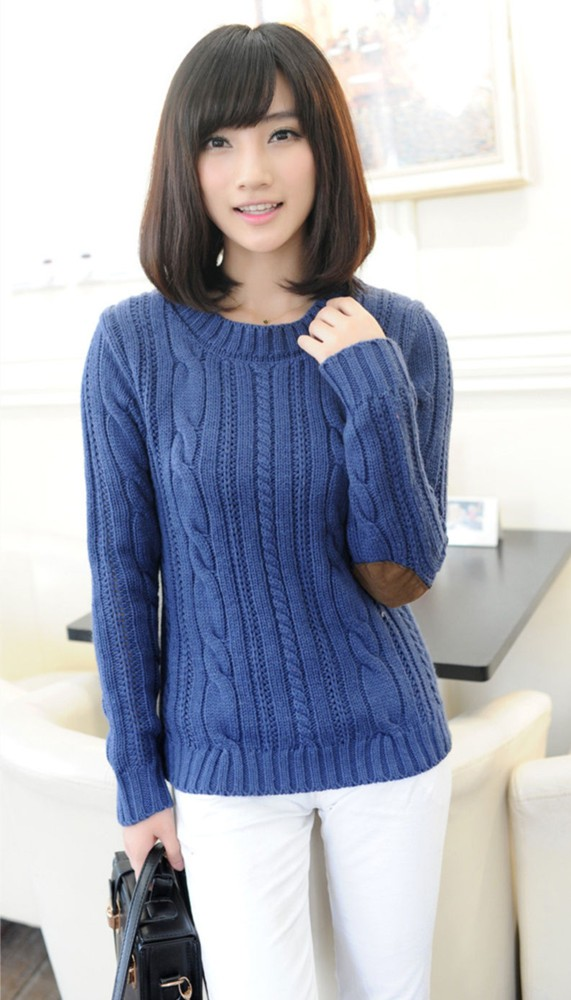woman in blue sweater