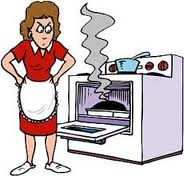 annoyed woman standing next to stove; oven door open with smoking roast in oven
