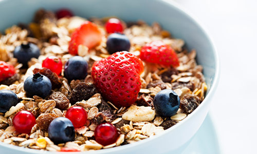 cereal with strawberries and blueberries