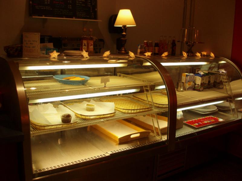 bakery with empty display cases