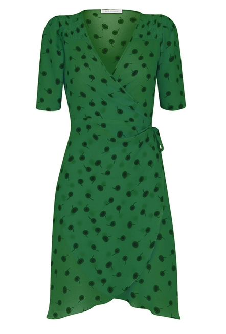 green polka-dot dress