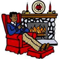 man sitting in an easy chair by the fireplace