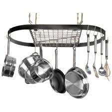 pot racks with pots hanging